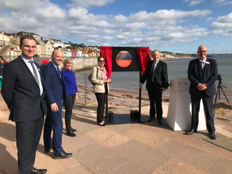 Rail Minister opening the new sea wall near Dawlish station