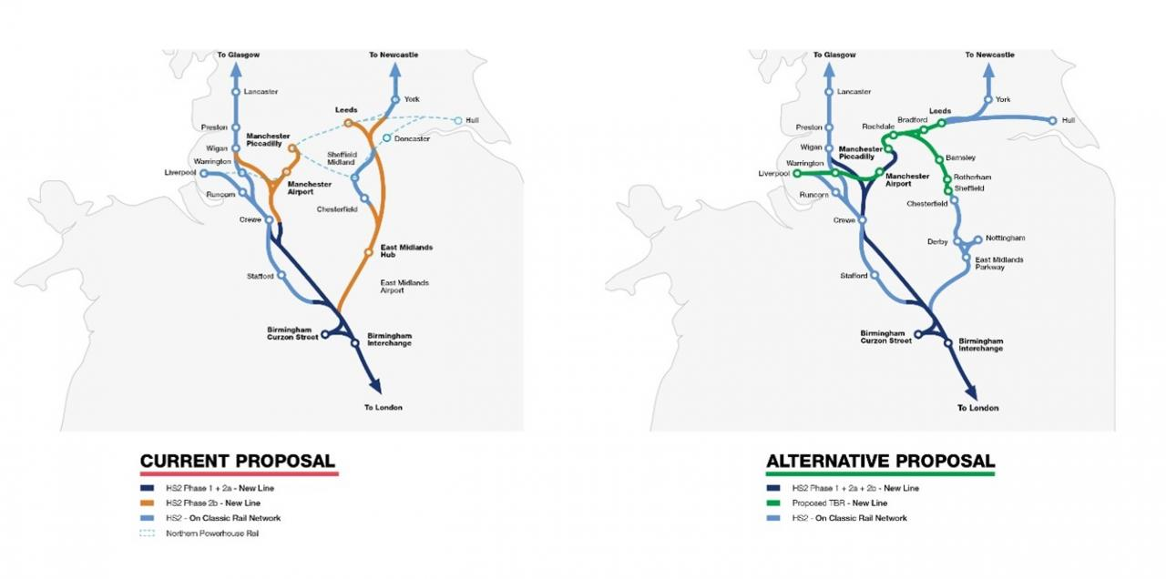 Trans-Britain Railway and HS2 comparison