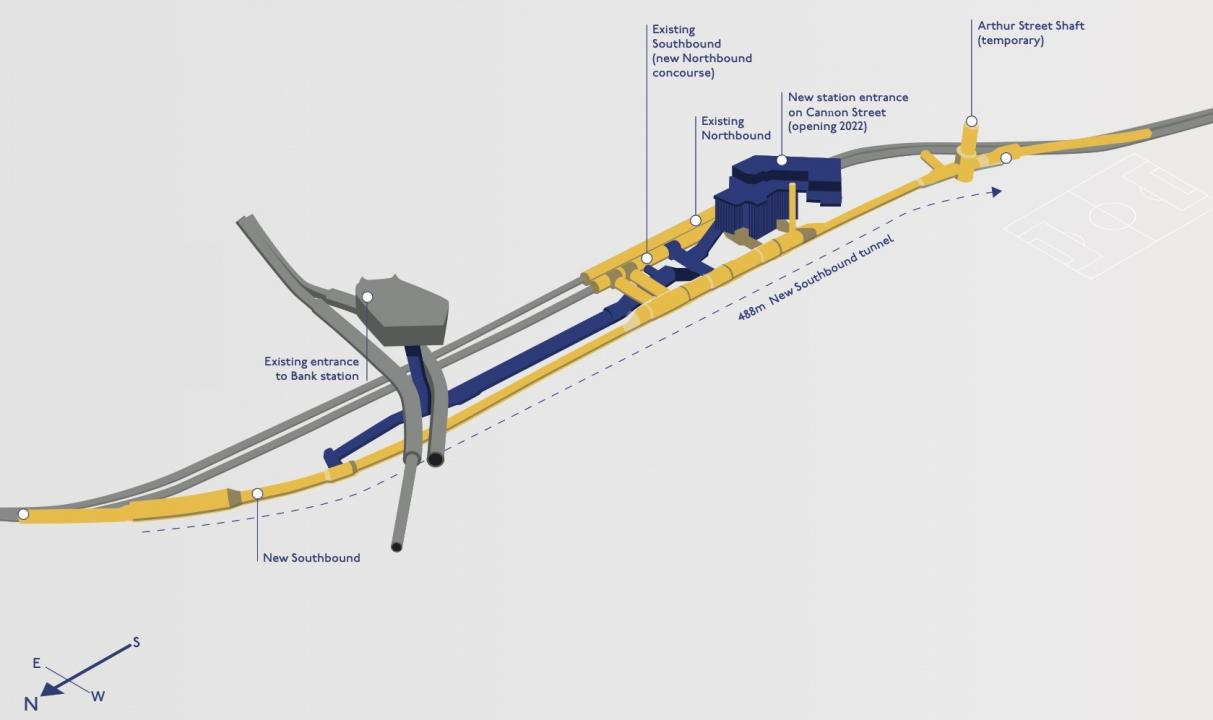 Diagram of Bank station tunnel work