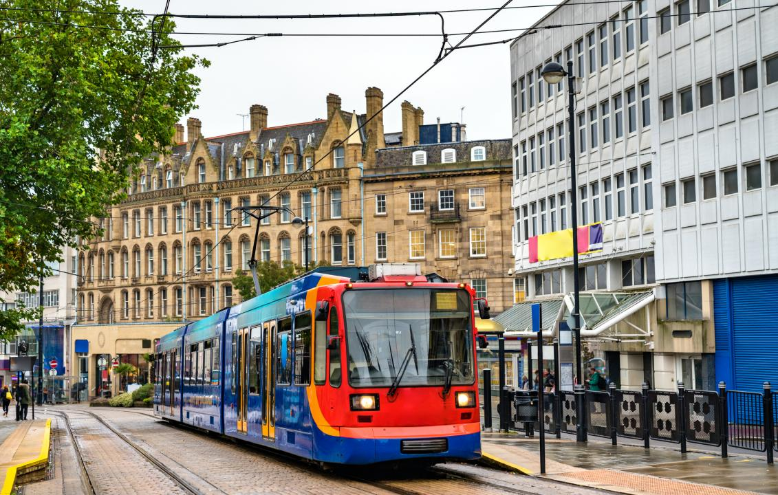 City tram at Cathedral station in Sheffield - South Yorkshire, England
