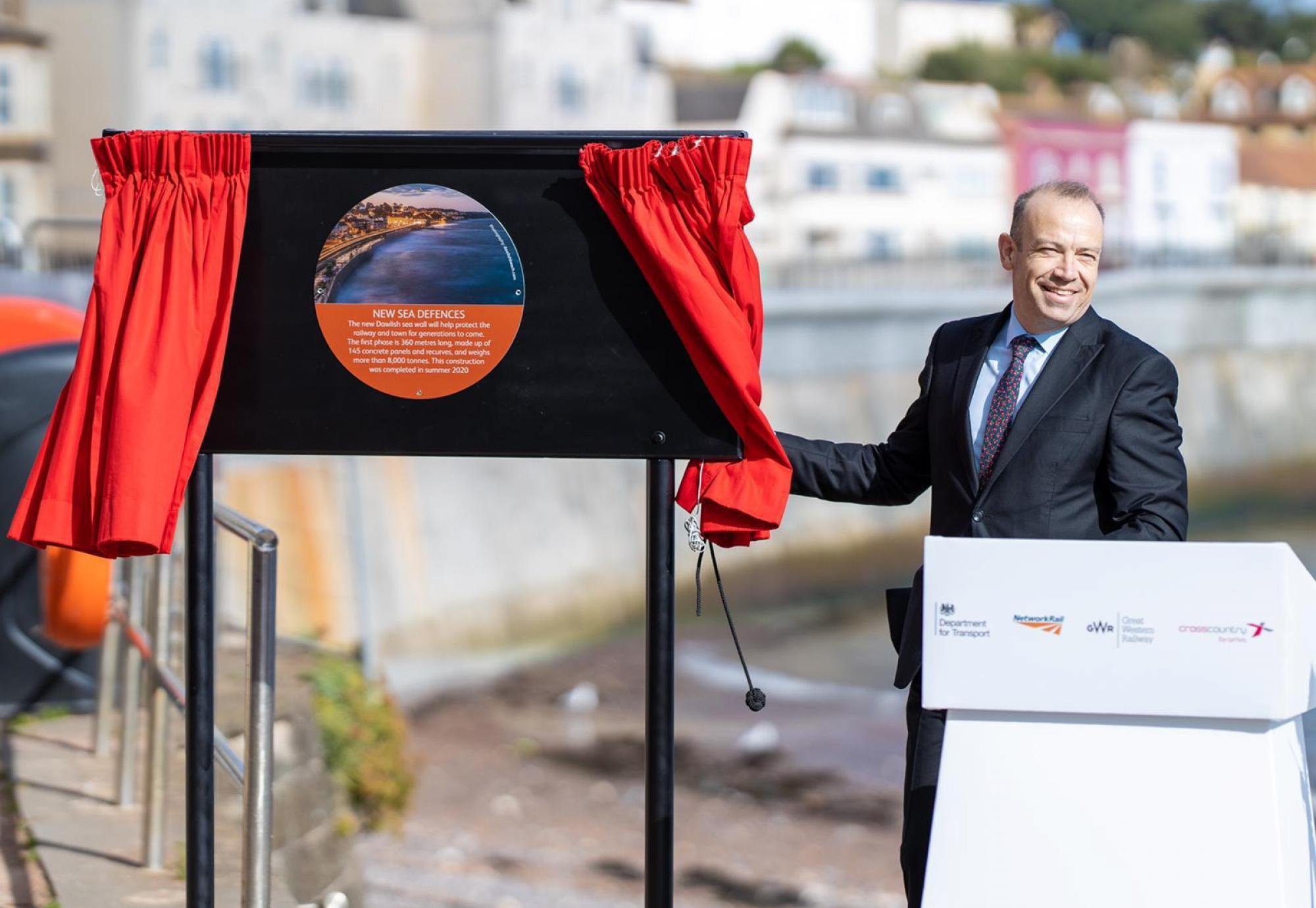 Rail Minister opens first phase of Dawlish seawall