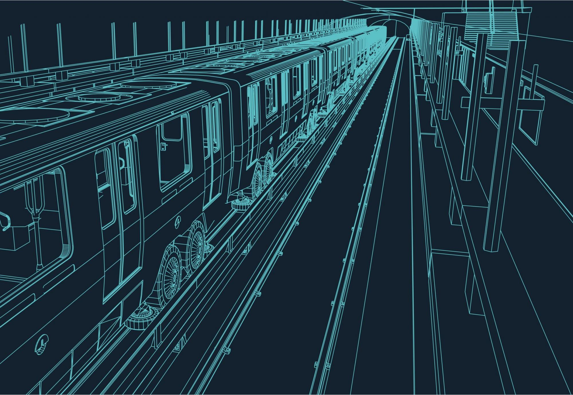 Wireframe blueprint of a metro train in a station