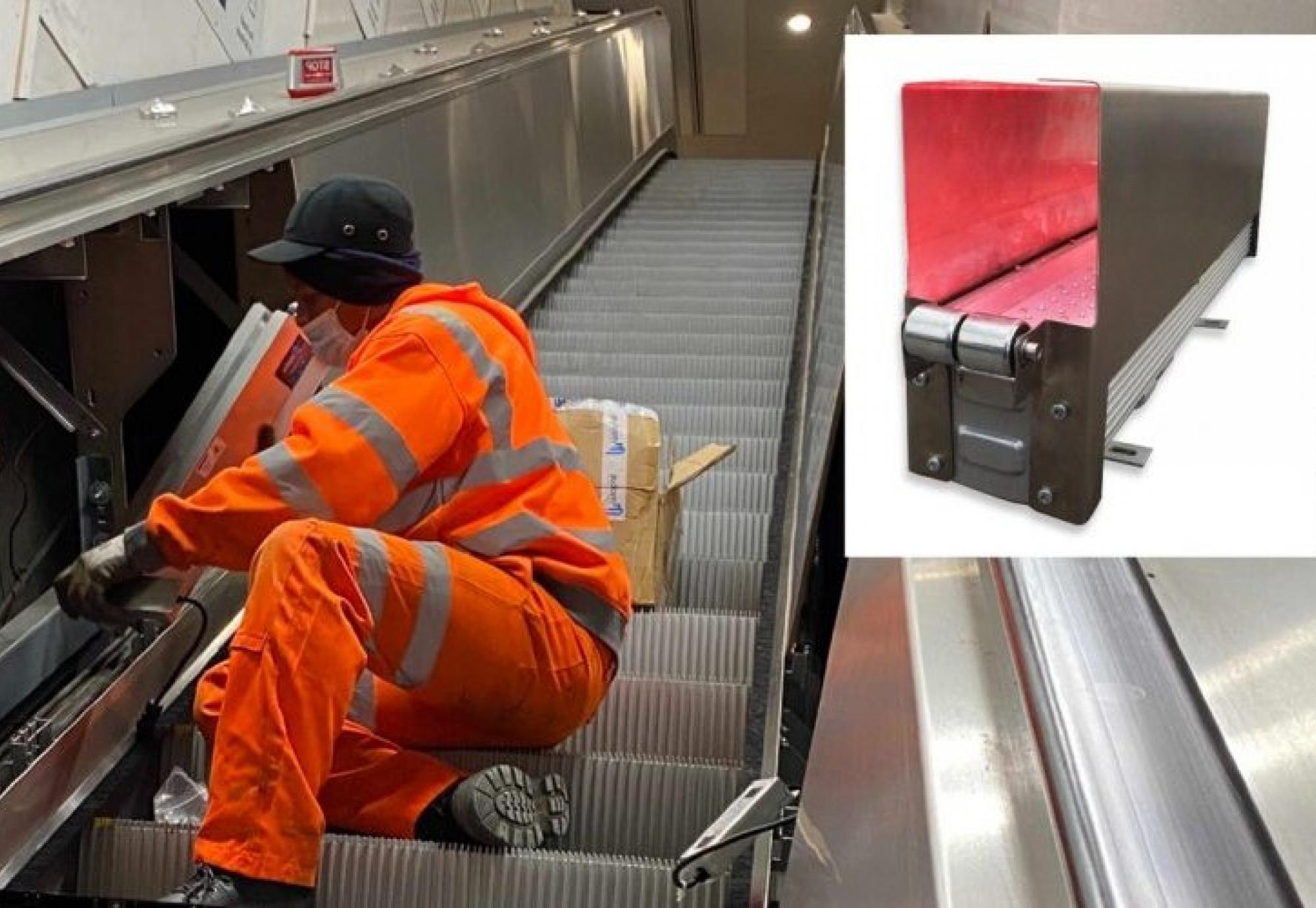 Engineer using ultraviolet technology to disinfect rail station