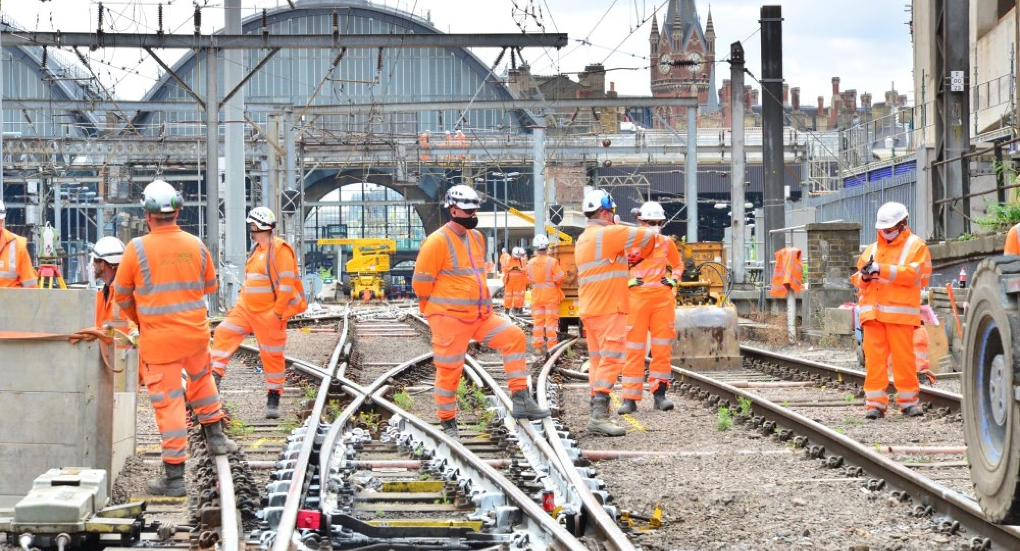 Network Rail engineers on the railway track