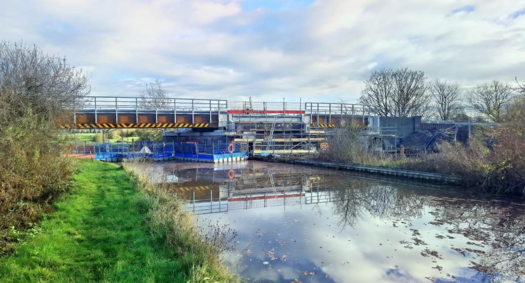 New Trent & Mersey Canal and Whatcroft Hall Lane railway bridges in position