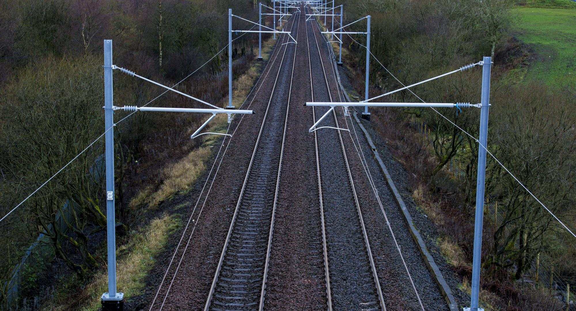 Electrified overhead lines (via Network Rail image library)