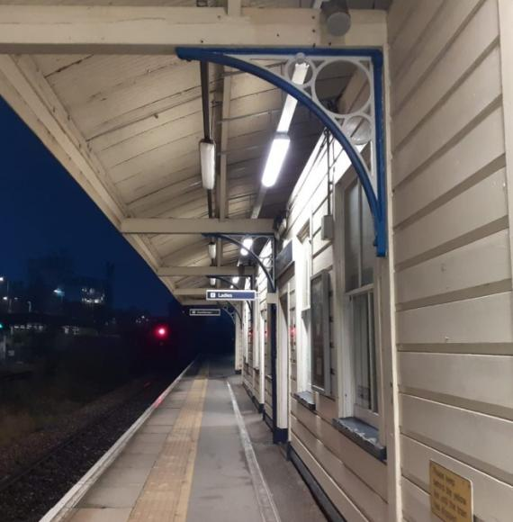 Andover Station following rewiring work