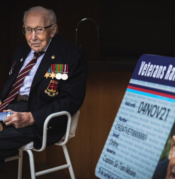 Captain Tom Moore presented with first ever Veterans' Railcard