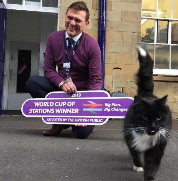 Andy Croughan, Station Manager of Huddersfield station and Felix the cat