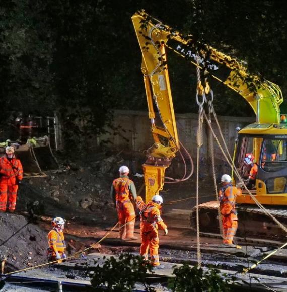 Network Rail employees working on Taylors Bridge in Todmorden