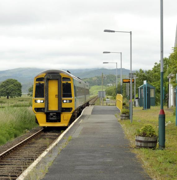 Train in service in North Wales