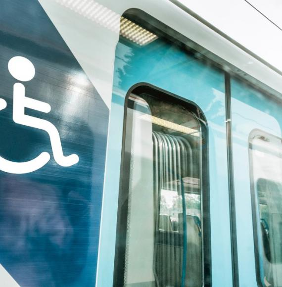 Disabled sign on train