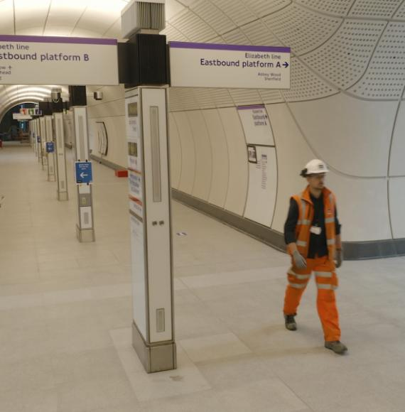 Worker on the Crossrail project