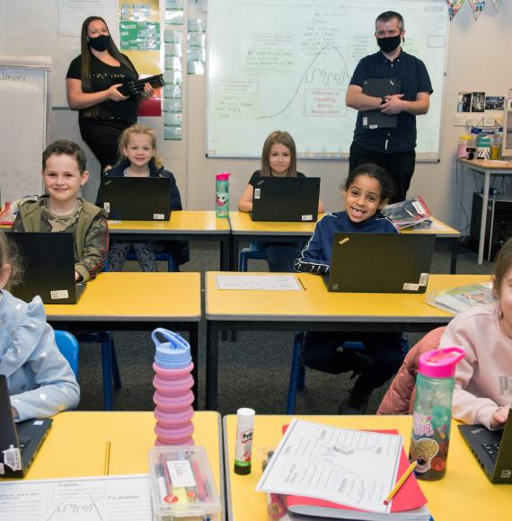 Network Rail donate laptops to all pupils at St Willibrords School in Manchester