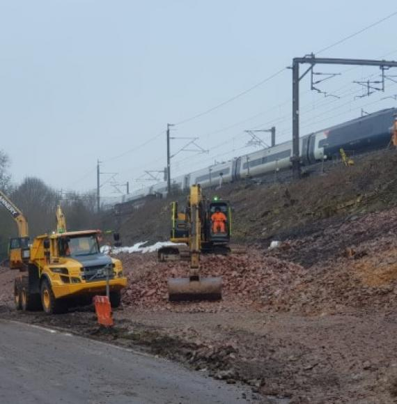 Hillmorton Junction landslip repairs February 2021