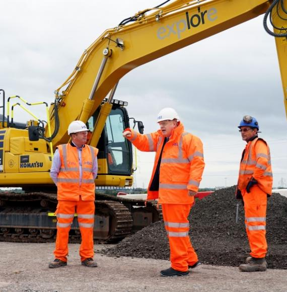 Prime Minister Boris Johnson visits HS2 Interchange Site