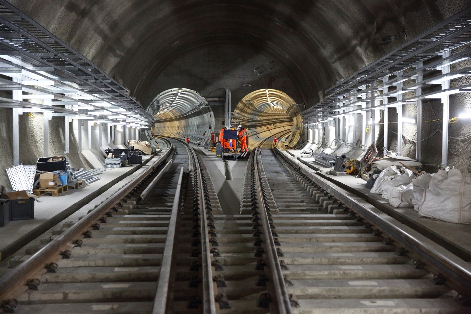 Crossrail unveils new pictures showing progress with tunnel fit-out work