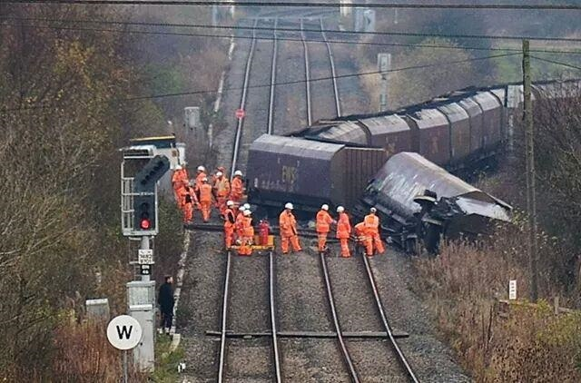 Freight train derails in Northumberland