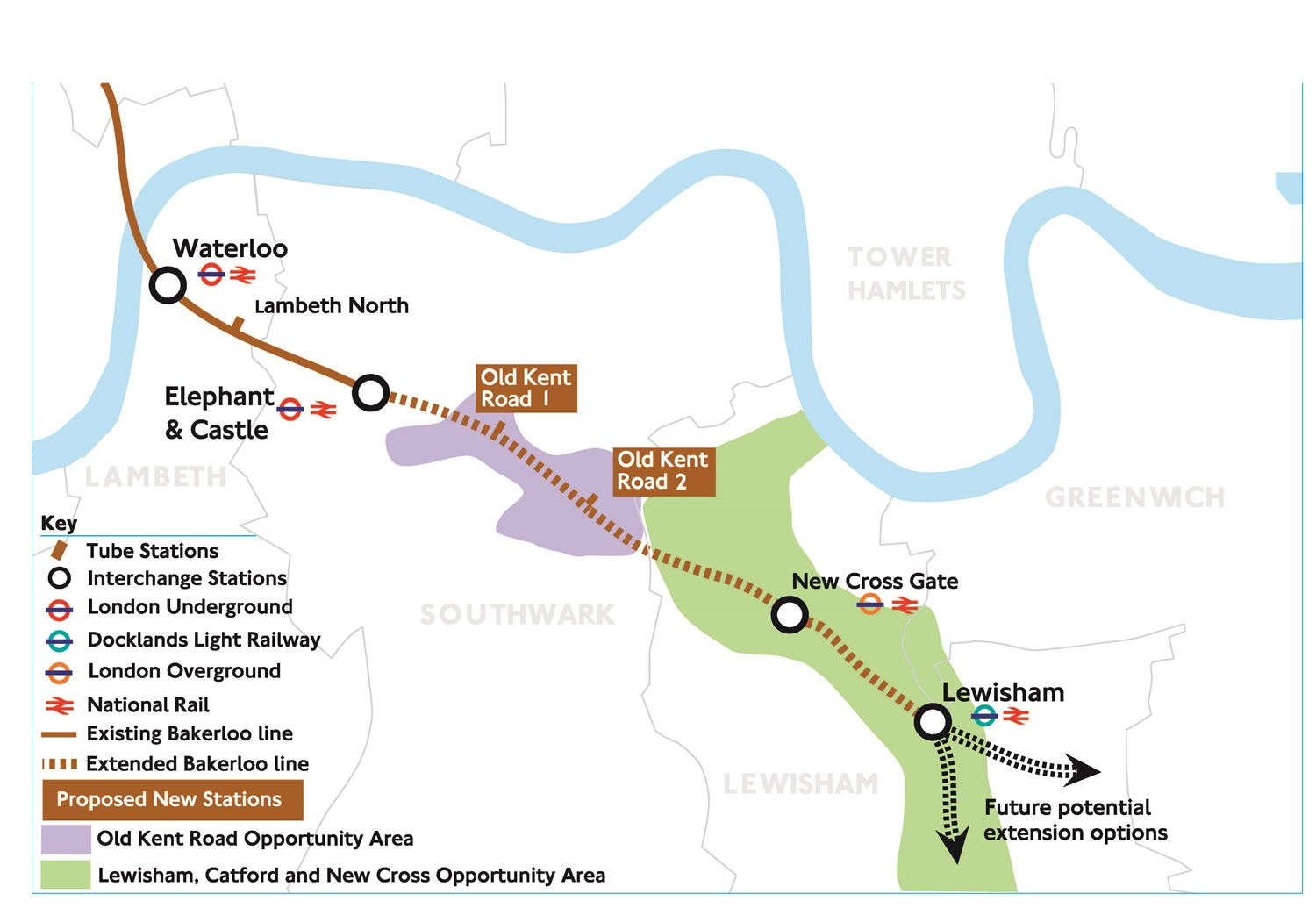 Bakerloo line extension map 2017