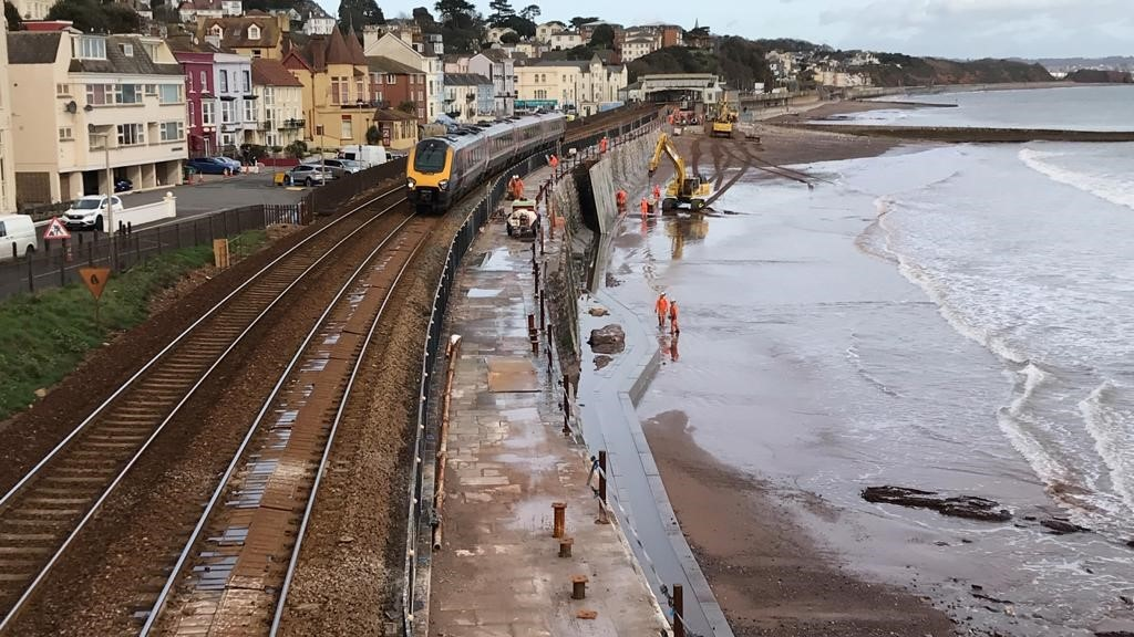 Network Rail install new Dawlish sea wall