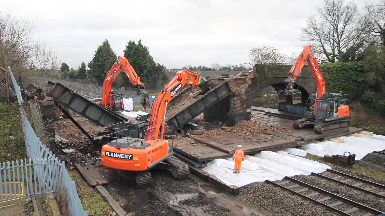 Demolition of Trenches bridge in Slough 57651