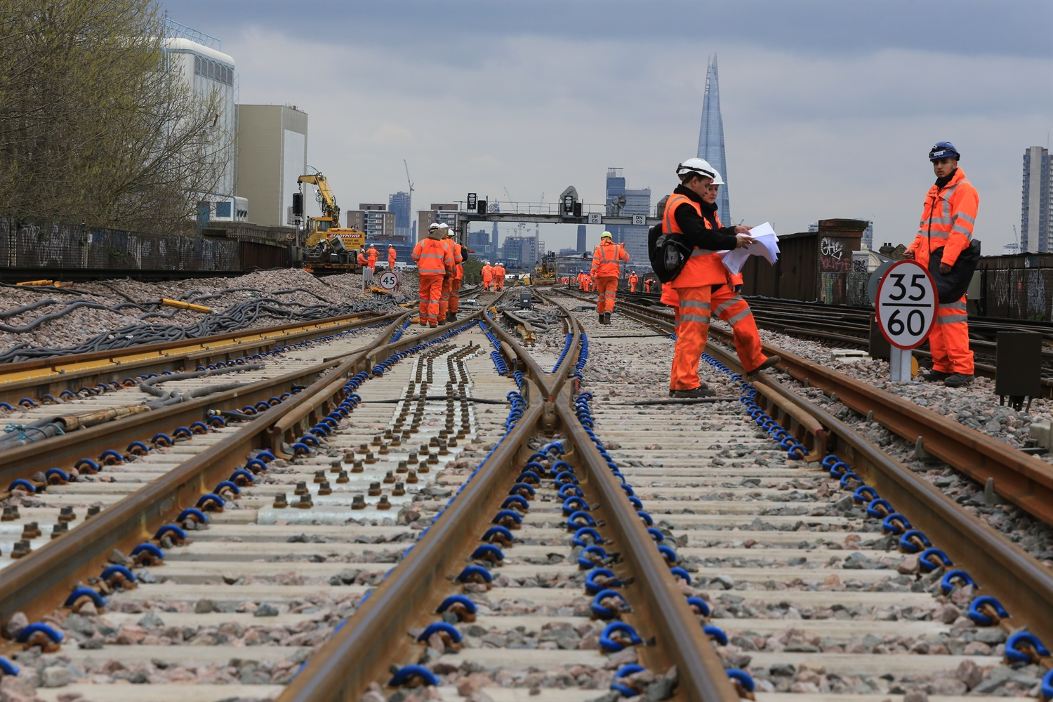 Easter 2015 New crossovers for new track, laid to allow viaduct demolition to start this year