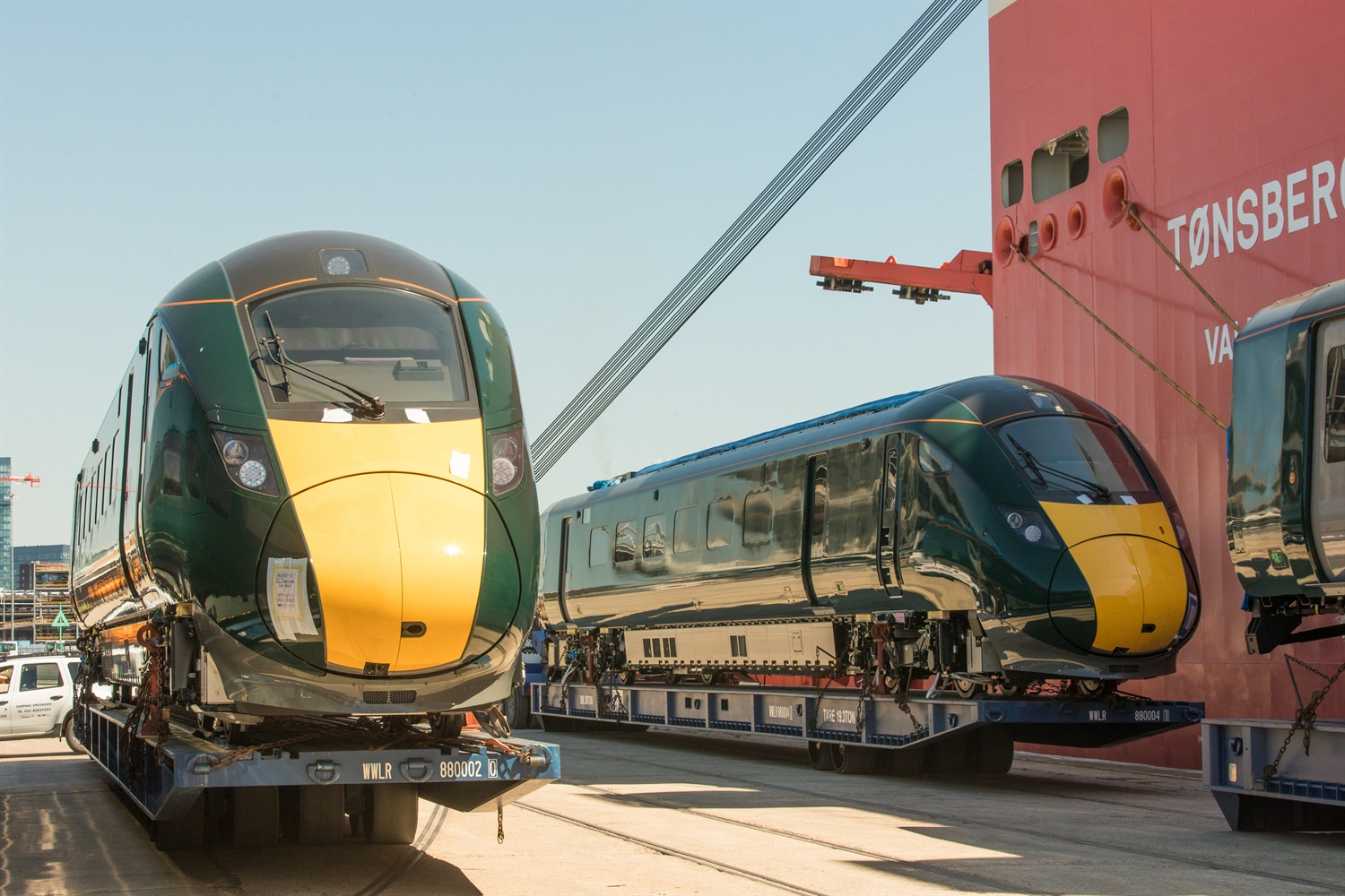 First of GWR's bi-mode Class 802s arrive in the UK from Japan