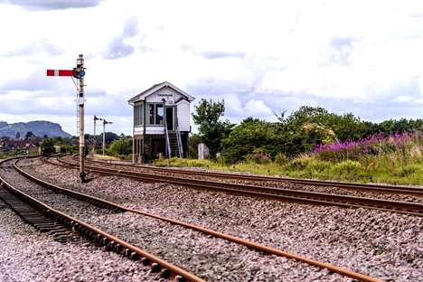 Halton Curve signal box front view and track July 2017 edit