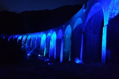 Iconic Glenfinnan viaduct turns blue for the country's NHS heroes