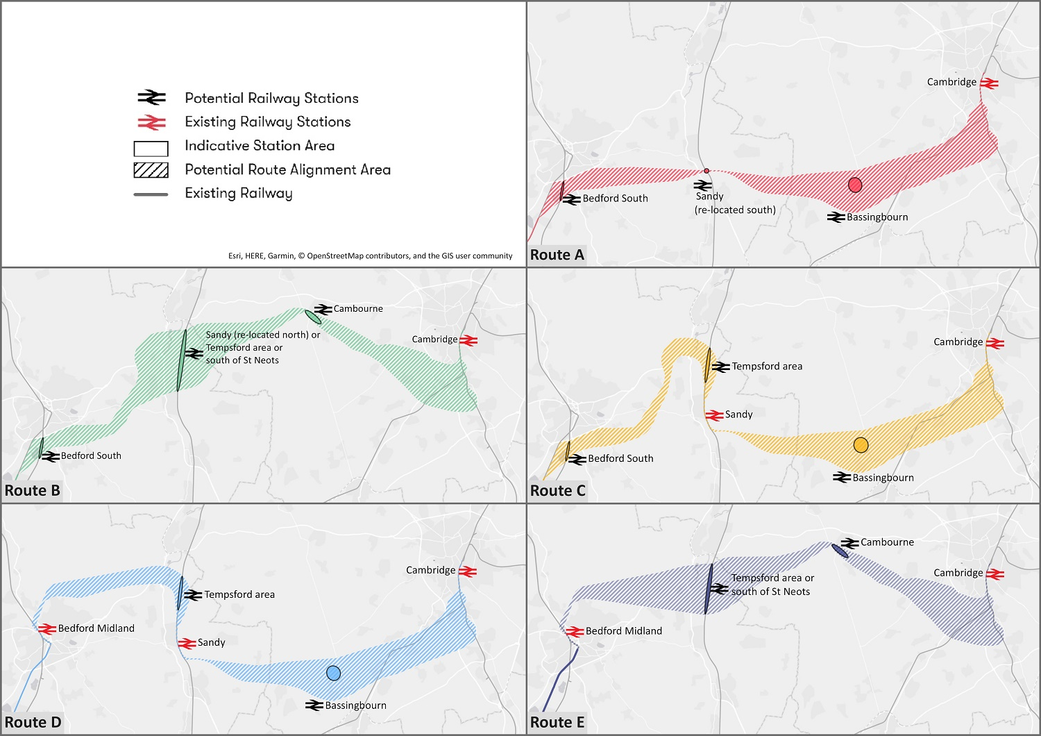 Five route options for East West Rail project unveiled
