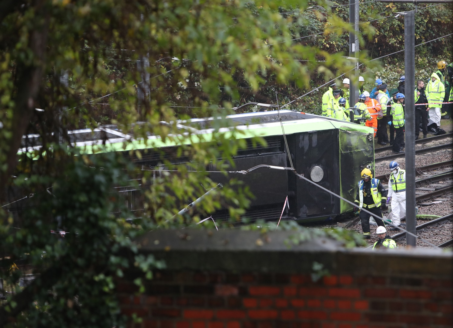 Passengers trapped after tram derails at Croydon