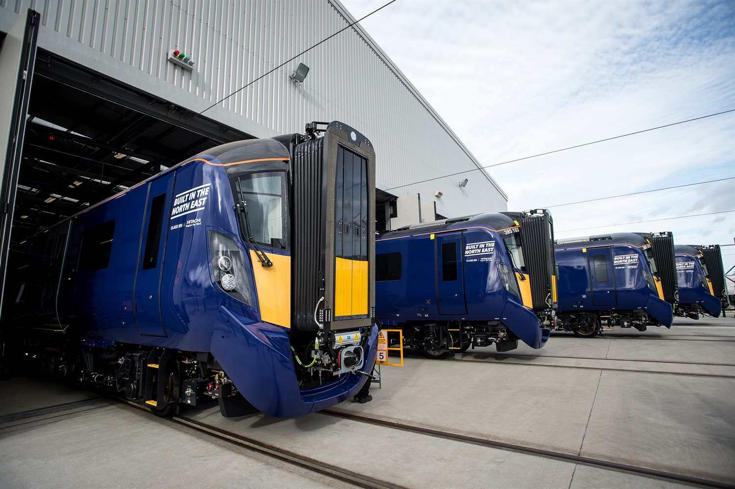 Hitachi unveils first finished ScotRail Class 385