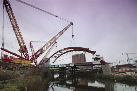 The Ordsall Chord arch about to be liften into place 21 February 2017