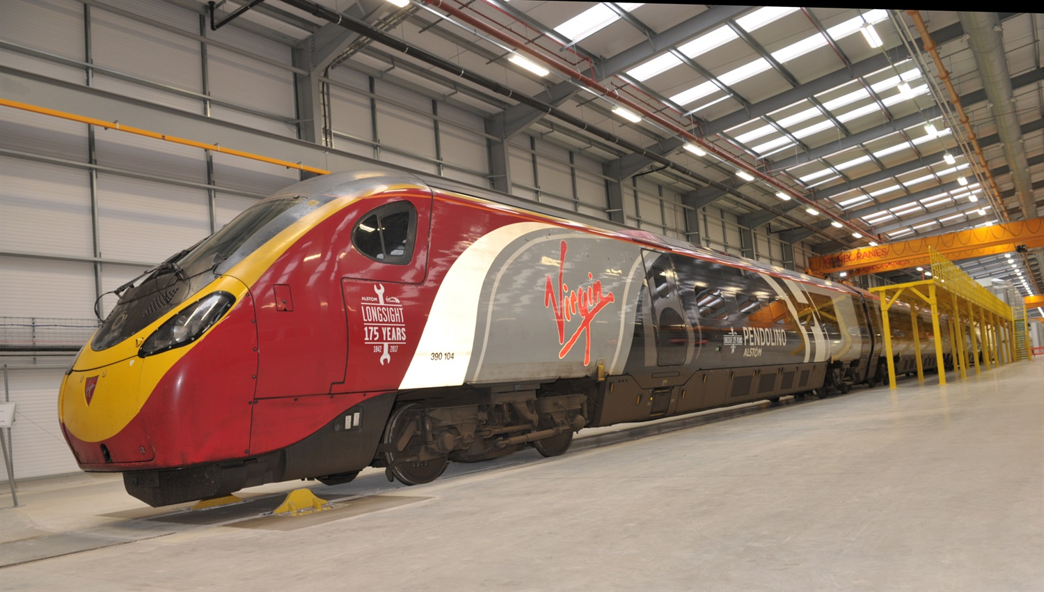 The first Pendolino to be worked upon sitting in the vast new site