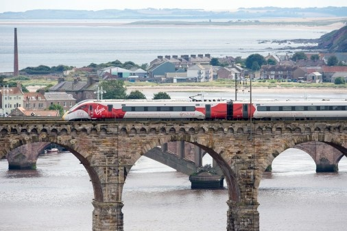 Virgin Azuma crosses Scottish border for first time in test run