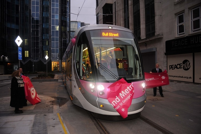 Trams running in central Birmingham for the first time in 60 years